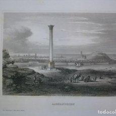 Arte: VISTA DEL PILAR DE POMPEYO (ALEJANDRÍA, EGIPTO, AFRICA), 1840. INS. HILDBURGHAUSEN. Lote 127434267