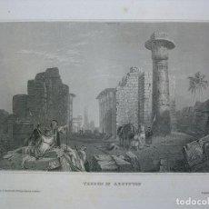 Arte: VISTA DE LAS RUINAS DE TEBAS (EGIPTO), CA.1850. INS. HILDBURGHAUSEN. Lote 127637503