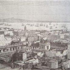 Arte: VISTA DE LA CIUDAD DE MONTEVIDEO (URUGUAY, AMÉRICA DEL SUR), CIRCA 1860. ANÓNIMO. Lote 127637819