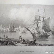 Arte: ANTIGUA VISTA DE LA CIUDAD DE NUEVA ORLEANS(ESTADOS UNIDOS, AMÉRICA), CA.1850. INS. HILDBURGHAUSEN. Lote 127638423