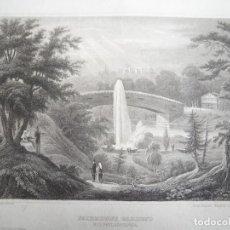 Arte: JARDINES FAIRMOUNT DE FILADELFIA, ESTADOS UNIDOS DE AMÉRICA, CA. 1850. INS. HILDBURGHAUSEN/MEYER. Lote 127638979