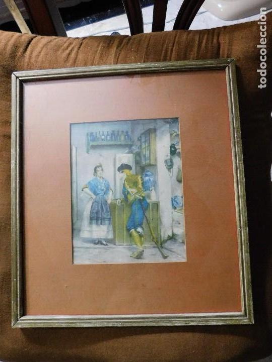 Arte: Grabado español antiguo con marco de madera - Foto 2 - 127640551