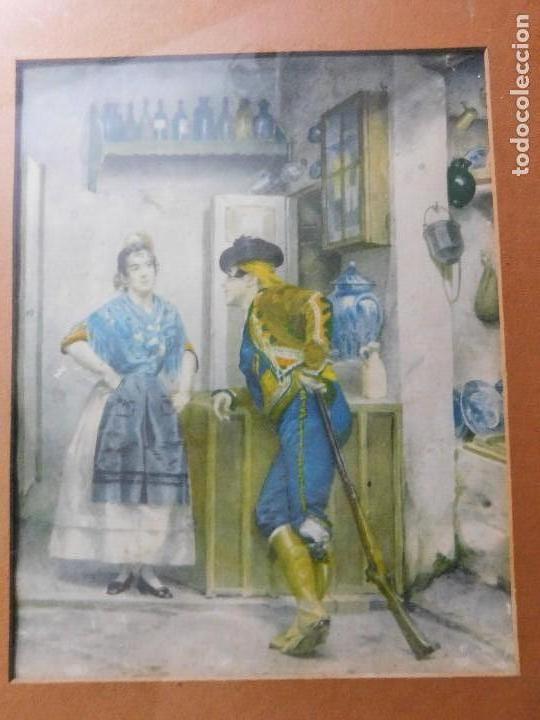 Arte: Grabado español antiguo con marco de madera - Foto 3 - 127640551