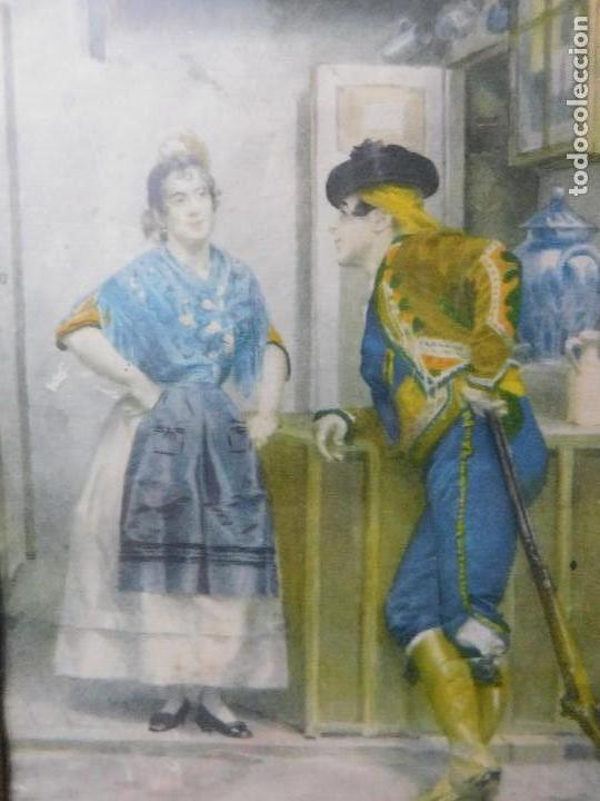 GRABADO ESPAÑOL ANTIGUO CON MARCO DE MADERA (Arte - Grabados - Contemporáneos siglo XX)