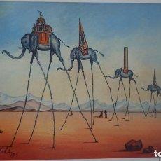 Arte: IMPRESIONANTE GRABADO DE DALI,SIN TITULO(ELEFANTES),FIRMADO Y NUMERADO, 50 X 65 CM . Lote 127967963