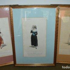 Arte: LOTE DE 3 GRABADOS CON VESTIDOS REGIONALES, IMP. LEMERCIER, BERNARD ET CIE. S. XIX.. Lote 127992247