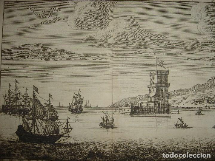 GRABADO TORRE DE BELEM, LISBOA, PORTUGAL, ORIGINAL, VAN DER AA, 1707, ESPLÉNDIDO ESTADO (Arte - Grabados - Antiguos hasta el siglo XVIII)