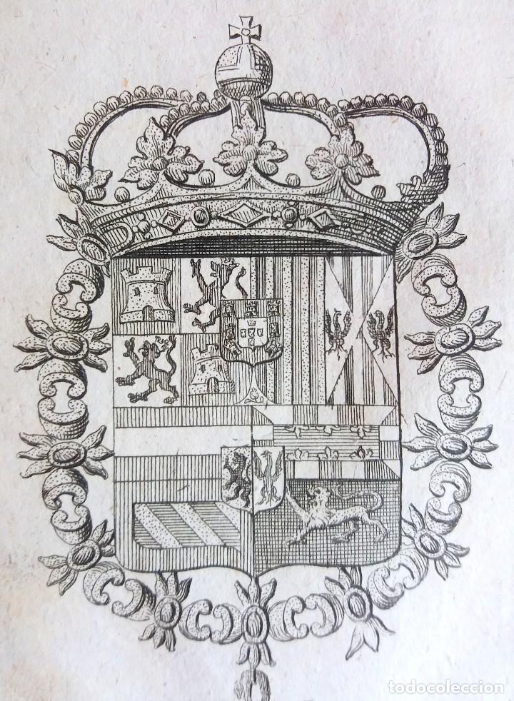 Arte: Grabado antiguo escudo casas reales de España Heráldica Genealogía año 1714 con certif. autent. - Foto 2 - 128079703