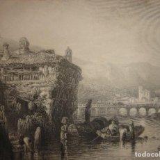 Arte: GRABADO IRÚN DESDE EL BIDASOA ,ORIGINAL,1837,DAVID ROBERTS, 1ª EDICIÓN,DATADO EN PLANCHA. Lote 128170519