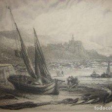 Arte: GRABADO FUENTERRABÍA DESDE SAN JUAN DE LUZ,ORIGINAL,1837,DAVID ROBERTS, 1ª EDICIÓN,DATADO EN PLANCHA. Lote 128170995