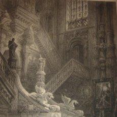 Arte: GRABADO ESCALERA CATEDRAL BURGOS , ORIGINAL,1837, DATADO EN PLANCHA, DAVID ROBERTS, 1ª EDICIÓN. Lote 128172411
