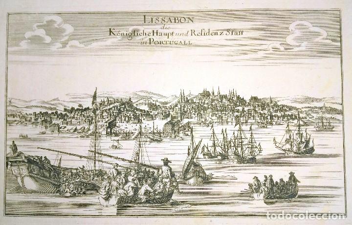 GRABADO ANTIGUO LISBOA PORTUGAL 1710 CON CERTIFICADO AUTENTICIDAD. GRABADOS ANTIGUOS DE PORTUGAL (Arte - Grabados - Antiguos hasta el siglo XVIII)
