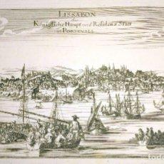 Arte: GRABADO ANTIGUO LISBOA PORTUGAL 1710 CON CERTIFICADO AUTENTICIDAD. GRABADOS ANTIGUOS DE PORTUGAL. Lote 90407549