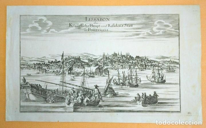 Arte: Grabado antiguo Lisboa Portugal 1710 con certificado autenticidad. Grabados antiguos de Portugal - Foto 2 - 90407549
