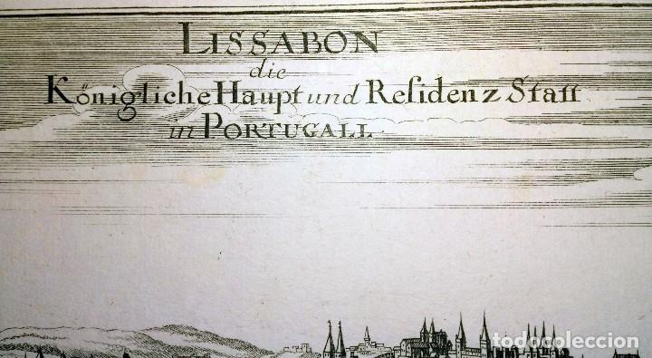 Arte: Grabado antiguo Lisboa Portugal 1710 con certificado autenticidad. Grabados antiguos de Portugal - Foto 3 - 90407549