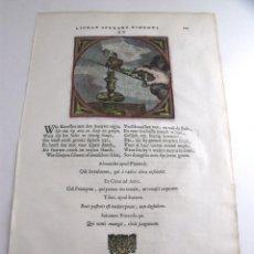 Arte: DOS EMBLEMAS BARROCOS. EL APAGADO DE UNA VELA Y EL HUERTO, 1670. JACOB CATS. Lote 128450575
