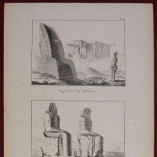 Arte: COLOSOS DE MEMMON Y TEMPLO EN ELEFANTINA (EGIPTO, ÁFRICA), 1821. MONTULE. Lote 128453739