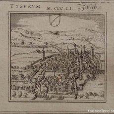 Arte: GEORG BRAUN Y FRANZ HOGENBERG -MAPA TYGURUM- ZÜRICH, GRABADO DE 1575. Lote 128605795