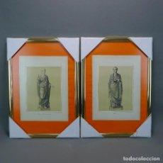 Arte: PAREJA GRABADOS ANTIGUOS ESCENA HOMBRE Y MUJER ROMANOS CON SUS TOGAS LOTE 116. Lote 128655955
