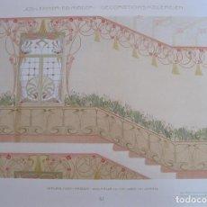 Arte: DISEÑO INTERIOR PARA ESCALERA, ART NOUVEAU, 1890. LEHNER Y MADER. Lote 128914335
