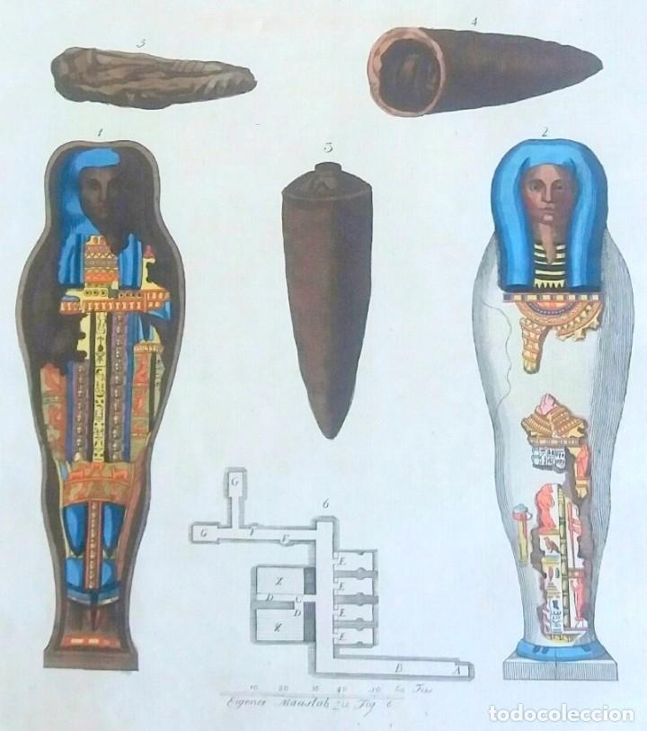 Arte: Grabado antiguo momias egipcias 1799 con certif. autenticidad. Grabados antiguos momias egipcias - Foto 5 - 91996590