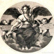 Arte: LA POESIA. GRABADO. TOMADO DEL ORIGINAL DE RAFAEL. PIETRO CHIGI. ITALIA XVIII-XIX. Lote 130332458