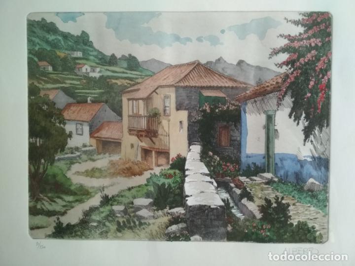 ACUARELA PINTOR ALBERTO MANRIQUE - 3/150, ENMARCADA MEDIDAS 76 X 52 CM (Arte - Grabados - Contemporáneos siglo XX)