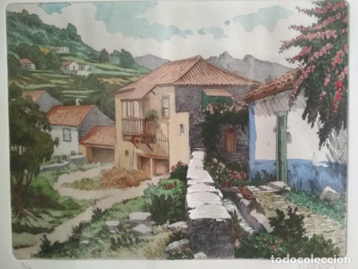 Arte: ACUARELA PINTOR ALBERTO MANRIQUE - 3/150, ENMARCADA MEDIDAS 76 X 52 CM - Foto 2 - 130497198