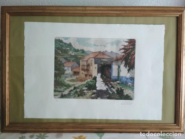 Arte: ACUARELA PINTOR ALBERTO MANRIQUE - 3/150, ENMARCADA MEDIDAS 76 X 52 CM - Foto 3 - 130497198
