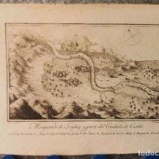 Arte: PRECIOSO GRABADO, MAPA DE LOMBAY Y CARLET, VALENCIA - A.J.CAVANILLES - AÑOS 1795-1797. Lote 131171788
