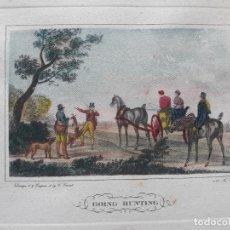 Arte: GRABADO CARLE VERNET- N°1 GOING HUNTING- CACERÍA PERROS Y CABALLOS- COLOREADO AUTOR 1822. Lote 131580078