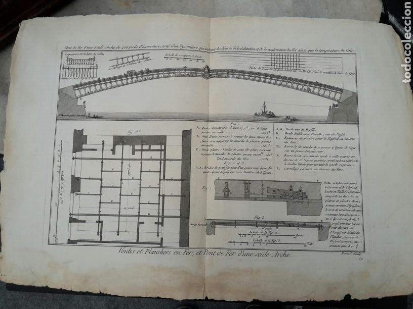 GRABADO S XVLLL CONSTRUCCIÓN PUENTE (Arte - Grabados - Antiguos hasta el siglo XVIII)