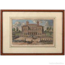 Arte: SIGLO XVIII, VILLA BORGHESE, GIUSEPPE VASI, GRABADO EN COLOR. Lote 132170262