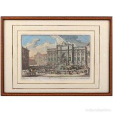 Arte: SIGLO XVIII, FONTANA DI TREVI, GIUSEPPE VASI, GRABADO EN COLOR. Lote 132170498