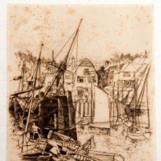Arte: EDWARD WILLIAM CHARLTON (1859-?) - AGUAFUERTE - THE OLD HARBOUR. Lote 132461890
