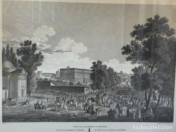 Arte: gabado vista paseo la florida Madrid lerouge gossardet Shoroeder tirada s XX de grabado s XVIII - Foto 2 - 132886226