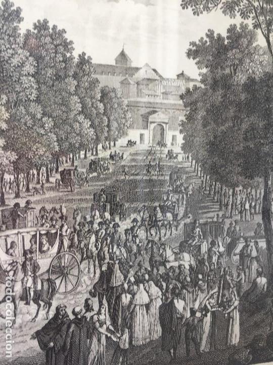 Arte: gabado vista paseo la florida Madrid lerouge gossardet Shoroeder tirada s XX de grabado s XVIII - Foto 8 - 132886226