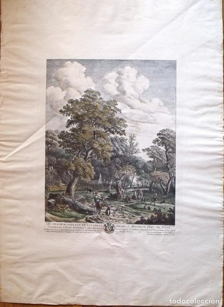 PHILLIPS WOUVERMAN (1690-1762). GRABADO COLOREADO A MANO. LES CHASSEURS SORTANT DE LA FOREST. 1745. (Arte - Grabados - Antiguos hasta el siglo XVIII)