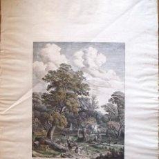 Arte: PHILLIPS WOUVERMAN (1690-1762). GRABADO COLOREADO A MANO. LES CHASSEURS SORTANT DE LA FOREST. 1745.. Lote 132889074