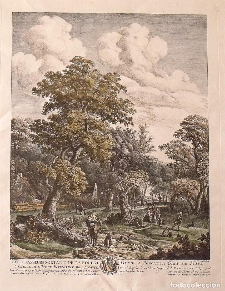 Arte: Phillips Wouverman (1690-1762). Grabado coloreado a mano. Les Chasseurs sortant de la Forest. 1745. - Foto 2 - 132889074