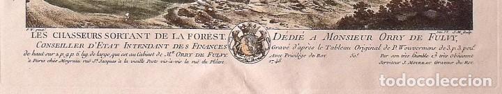 Arte: Phillips Wouverman (1690-1762). Grabado coloreado a mano. Les Chasseurs sortant de la Forest. 1745. - Foto 3 - 132889074