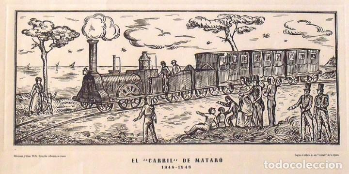 Arte: Grabado: El carril de Mataró 1848-1948. Ediciones gráficas Millà. 1948. 36X51 cm. Tren. Ferrocarril. - Foto 2 - 132889554