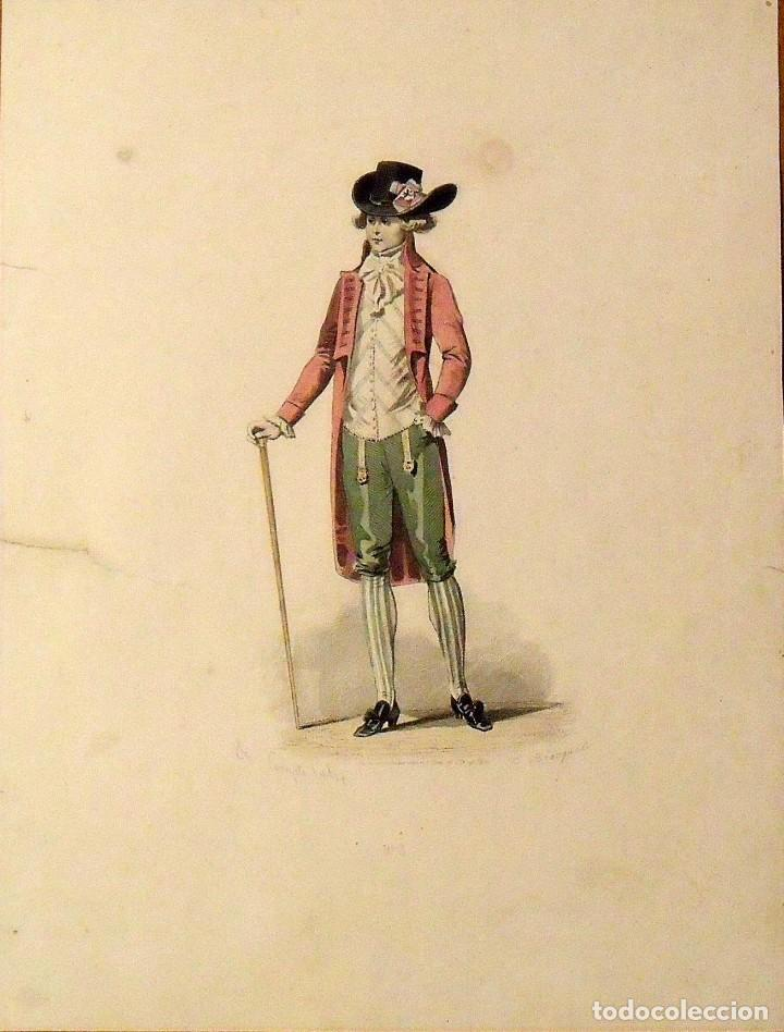 FRANÇOIS CLAUDIUS COMPTE CALIX. GRABADO CABALLERO ELEGANTE. SIGLO XIX. E. BRACQUEL. 29X22 CM. (Arte - Grabados - Modernos siglo XIX)