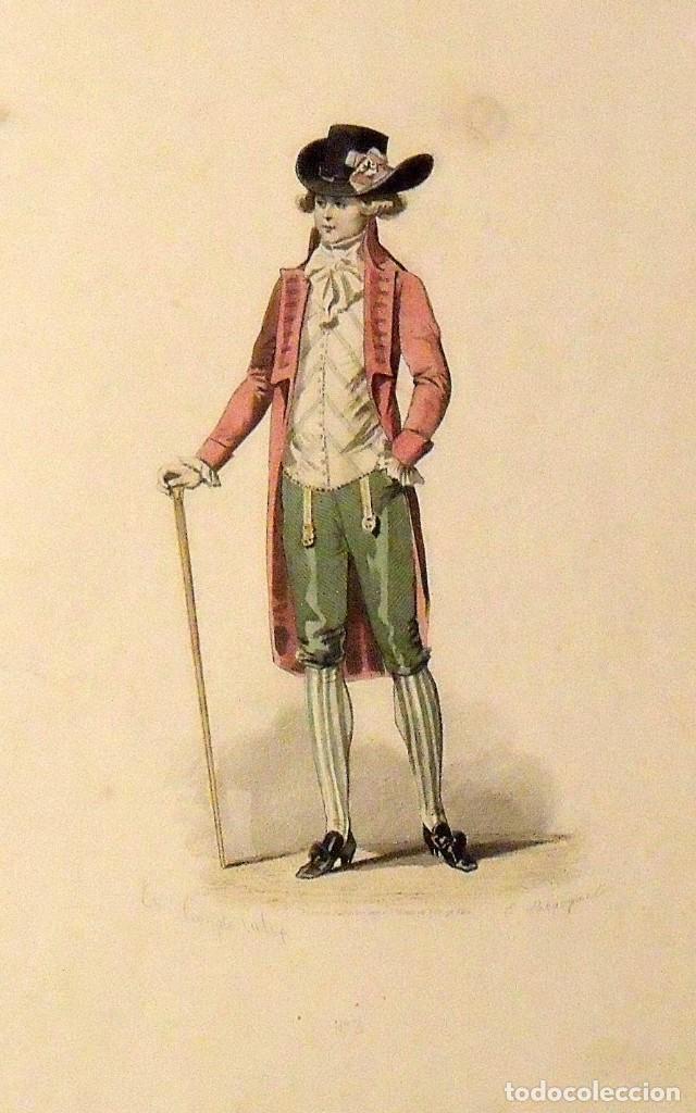Arte: François Claudius Compte Calix. Grabado caballero elegante. Siglo XIX. E. Bracquel. 29x22 cm. - Foto 2 - 132916266