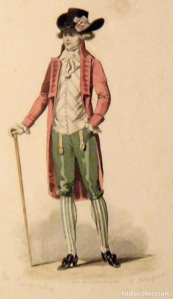 Arte: François Claudius Compte Calix. Grabado caballero elegante. Siglo XIX. E. Bracquel. 29x22 cm. - Foto 3 - 132916266