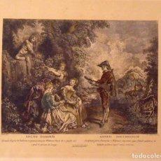 Arte: ANTOINE WATTEAU (1684-1721). GRABADO COLOREADO A MANO LEÇON D'AMOUR. 1734. 31X39 CM.. Lote 132926618