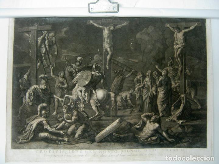 60 CM - IMPRESIONANTE GRABADO FLORENCIA S. XVI XVII - CRUCIFIXION NUESTRO SEÑOR JESUCRISTO (Arte - Grabados - Antiguos hasta el siglo XVIII)