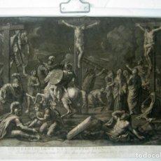 Arte: 60 CM - IMPRESIONANTE GRABADO FLORENCIA S. XVI XVII - CRUCIFIXION NUESTRO SEÑOR JESUCRISTO. Lote 133037078