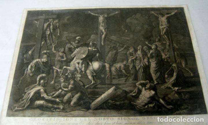 Arte: 60 CM - Impresionante Grabado Florencia s. XVI XVII - Crucifixion Nuestro Señor Jesucristo - Foto 3 - 133037078