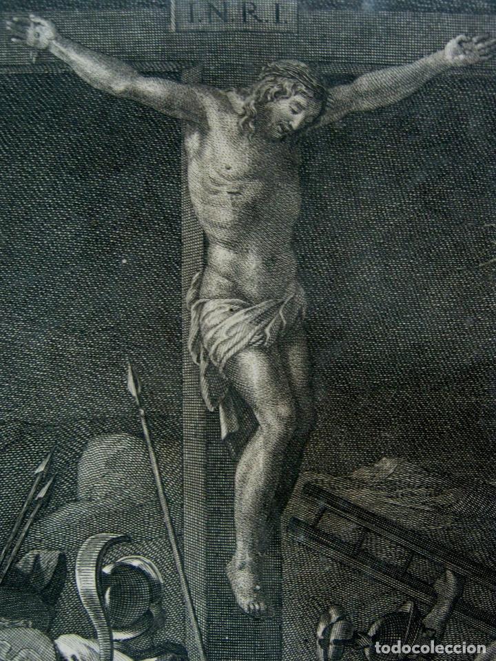 Arte: 60 CM - Impresionante Grabado Florencia s. XVI XVII - Crucifixion Nuestro Señor Jesucristo - Foto 6 - 133037078